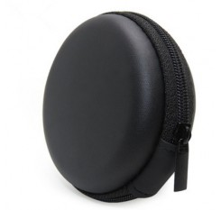 Black bluetooth handsfree headset Case - Clamshell Style with Zipper Enclosure Inner Pocket and Dura