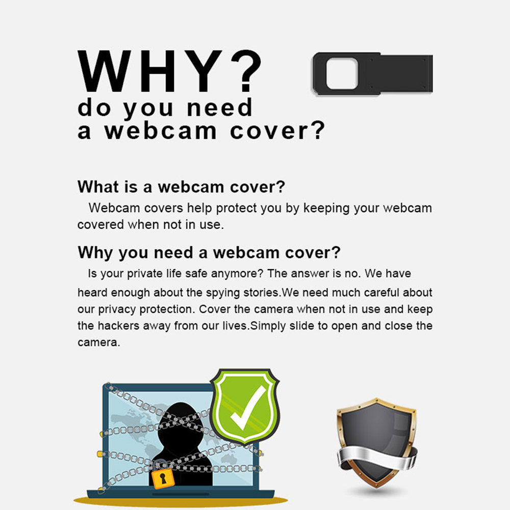 D1 0.68mm Ultra Thin Webcam Durable Metal Slider Laptop Camera Cover for Privacy