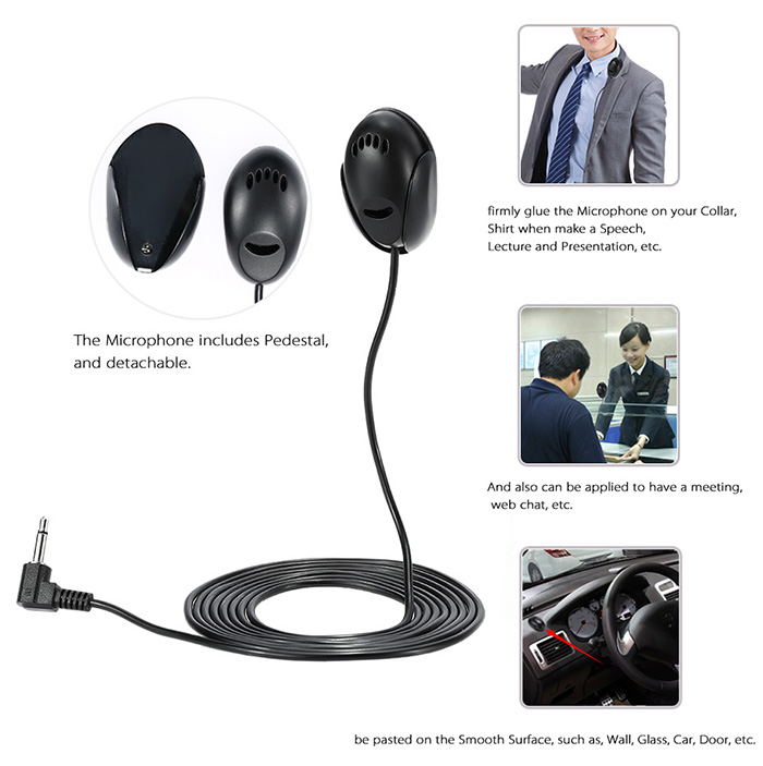 3.5mm Car External Microphone Mic DVD Radio Stereo Player HeadUnit Cable 2m