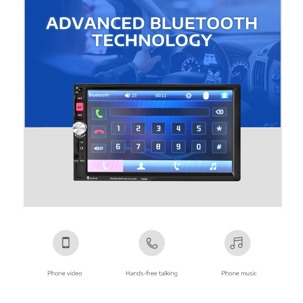 7080Bu00a0Bluetooth Auto MP5 Player Car Multimedia System 7-inch HD Touchscreen with Remote Controller